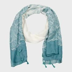 Duesouth Women's printed scarf with tassels-natural/seafoam