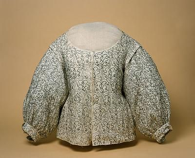 1625-1640 embroidered linen bodice