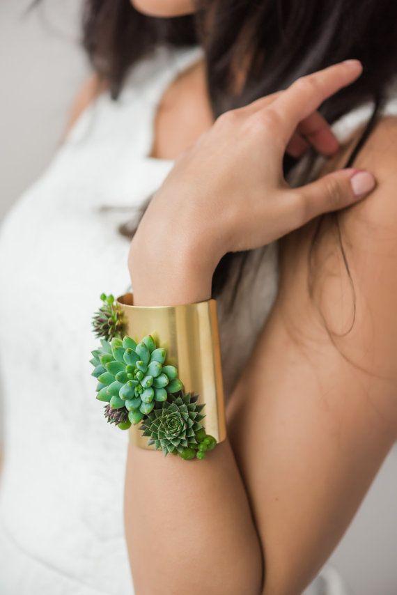 Cuff bracelet | statement bracelet | corsage | brass jewelry | floral jewelry…
