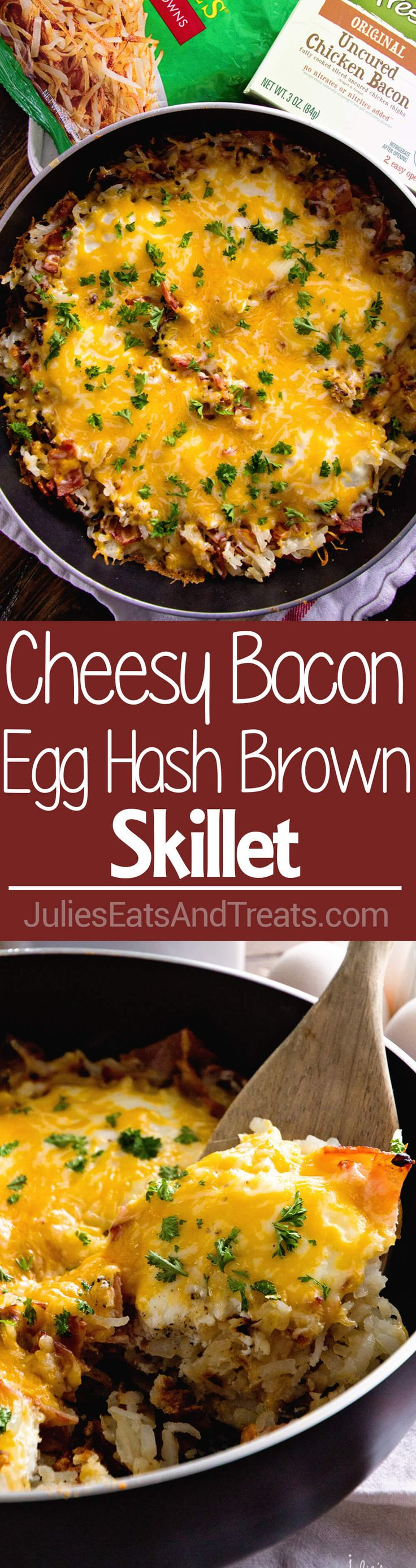 Cheesy Bacon Egg Hash Brown Skillet ~ Delicious, Easy Breakfast Skillet Loaded with Crispy Bacon, Hash Browns, Cheese and Eggs!  via @julieseats #SimplyHolidays #ad @SimplyPotatoes