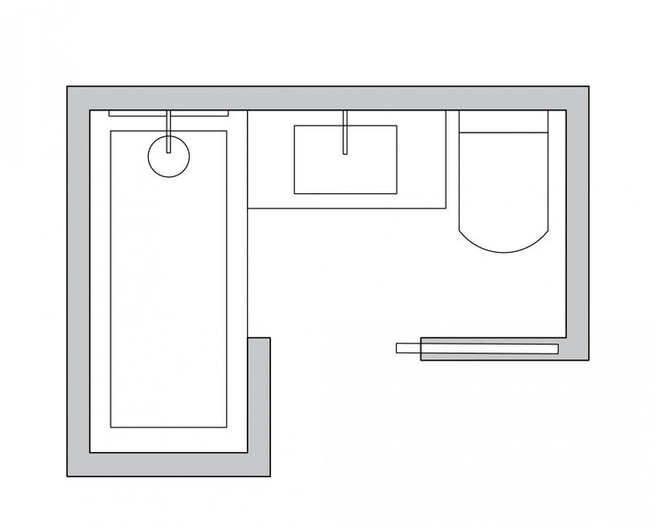 L-shaped small bathroom layout