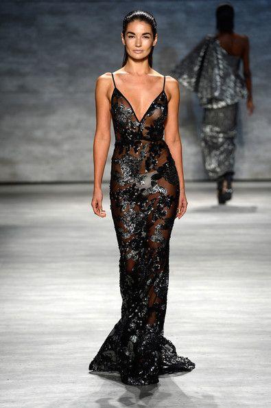 Mercedes Benz Of Silver Spring >> Michael Costello - Runway - Mercedes-Benz Fashion Week Spring 2015   Short-Waisted Black Evening ...