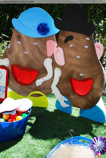 Mr. & Mrs. Potato Head :  Cut characters from foam board or plywood and paint.  Attach Velcro where facial features go.  Cut face pieces from felt and let kids re-arrange their faces!