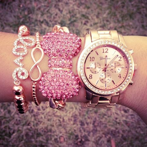 Pretty pink and rose gold bracelet stack | tumblr