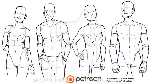 Casual standing pose reference sheet by Kibbitzer