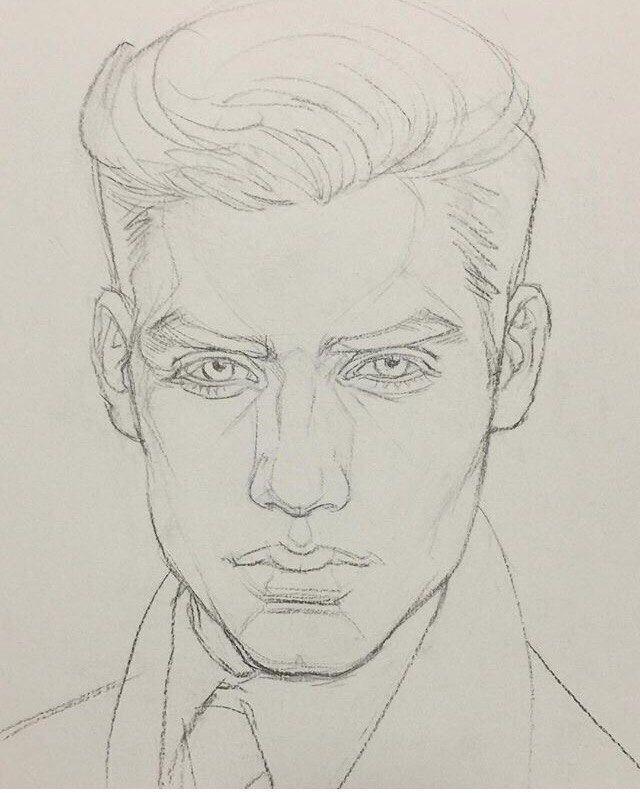 Картинки как нарисовать лицо мужчины