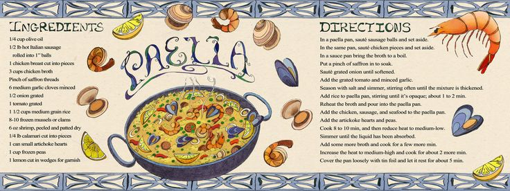paella recipe recipes illustrations by artists pinterest home. Black Bedroom Furniture Sets. Home Design Ideas