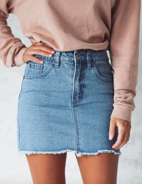 Simple denim skirts can go with so much they make outfits easy