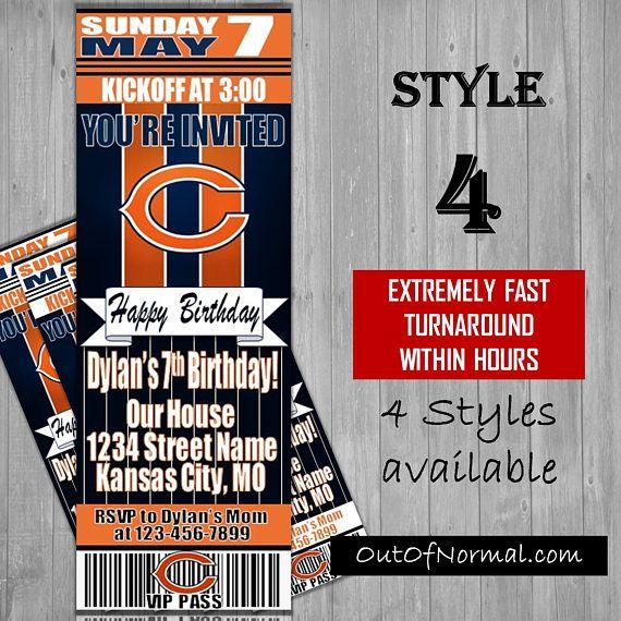Chicago Bears Themed Birthday Invitation Tickets  Football