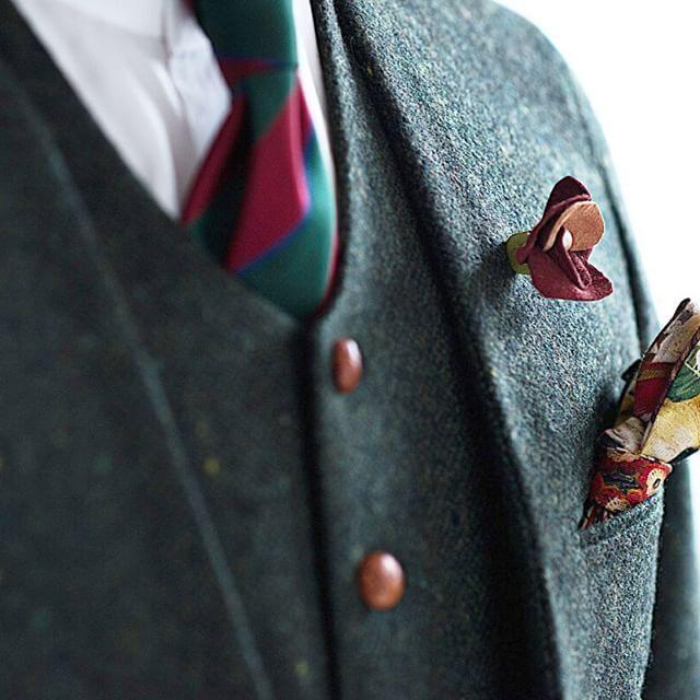 新郎衣装|グリーンのツイードでノーカラースーツ : 結婚式の新郎衣装に関するお話|カジュアルウェディングまとめ