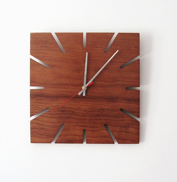 Rosewood clock handmade art clock wood wall clock red by ZEALHOME