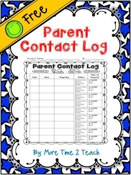 Parent Contact Log {FREE}...I've created this Parent Contact Log to keep track of the times that I contact parents. PreK, Kindergarten, 1st, 2nd, 3rd, 4th, 5th