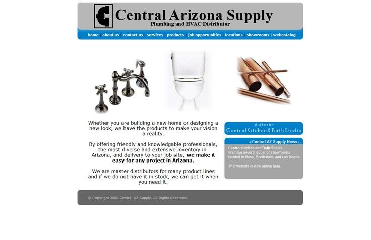central arizona supply website design before vuria