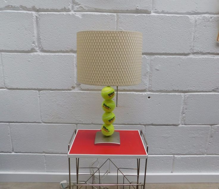 TENNIS BALL LAMP £28.00  Unique / custom made table lamp with real tennis ball base  Pull cord switch  Chrome effect base  38cm High - 54cm High with shade