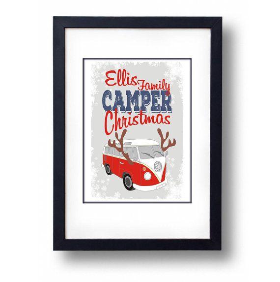 Personalised Camper Van Christmas Art by mammothcreativeworks