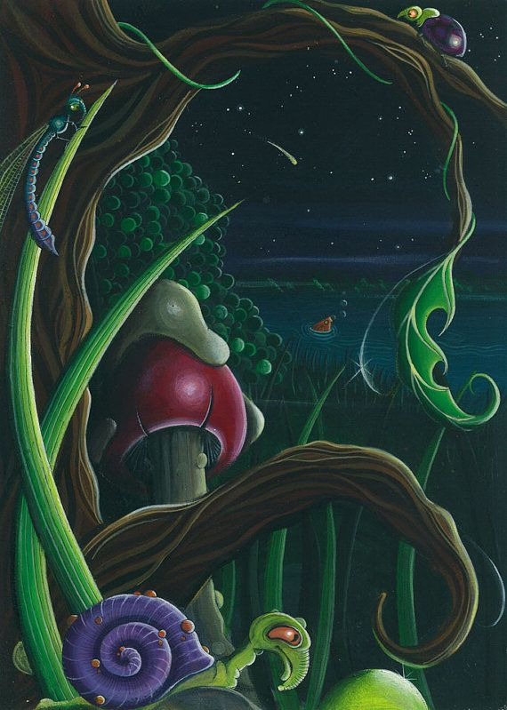 Original acrylic painting Fantasy snail forest  by feythcrafts, $270.00