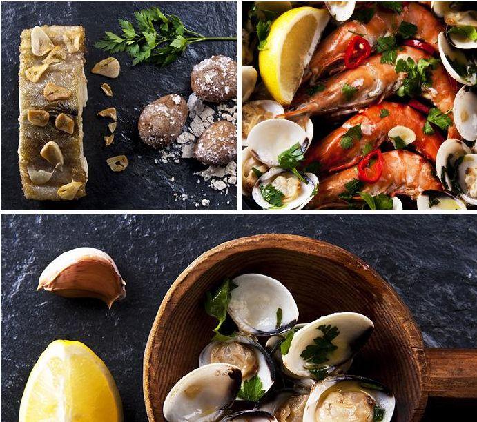La cucina portoghese vive principalmente di pescato e basa la sua tradizione culinaria su prelibati piatti a base di pesce e verdura. Molto richieste sono le sardine, che vengono cotte alla griglia, e famosa è la caldeirada, uno stufato di frutti di mare e molluschi con patate, pomodoro e cipolla.  Per dessert ottimi dolcetti di marzapane con un buon bicchiere di Porto o Madeira.
