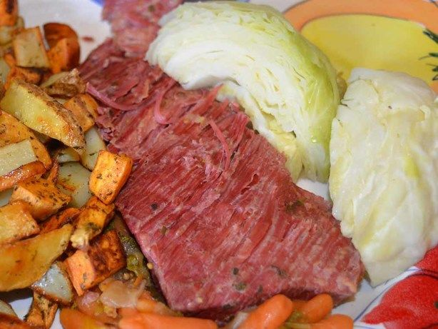The easiest and most tender corned beef. This recipe is for all of you that have that pressure cooker tucked away someplace. It makes the most tender corned beef brisket, in just over an hour. Cooking with the water tends to cut the salt down some also. Once you make it this way, youll never go back to oven cooking. Just remember the key to a good brisket, is always cutting against the grain. The point cut may have two or more grains, so cut carefully.
