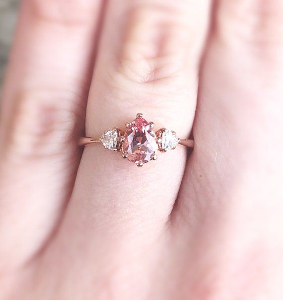 Solid 14K Solid Rose Pink Gold Round Cut 3 Three Stone Engagement Promise Ring