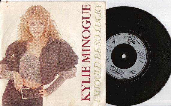 """KYLIE MINOGUE I Should Be So Lucky 1987 Uk Issue 7"""" 45 rpm  Vinyl Record Dance Pop Stock Aitken Waterman 80s Pwl8  *Sale 45s*"""