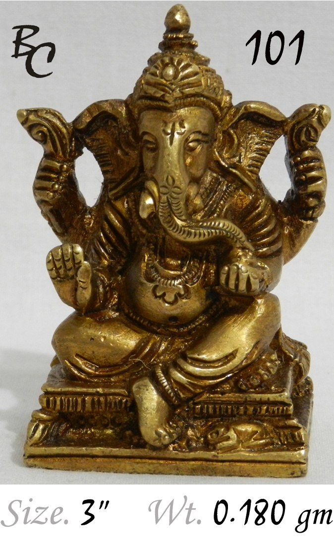 Brass Small Sitting ganesh with a very fine work on it..