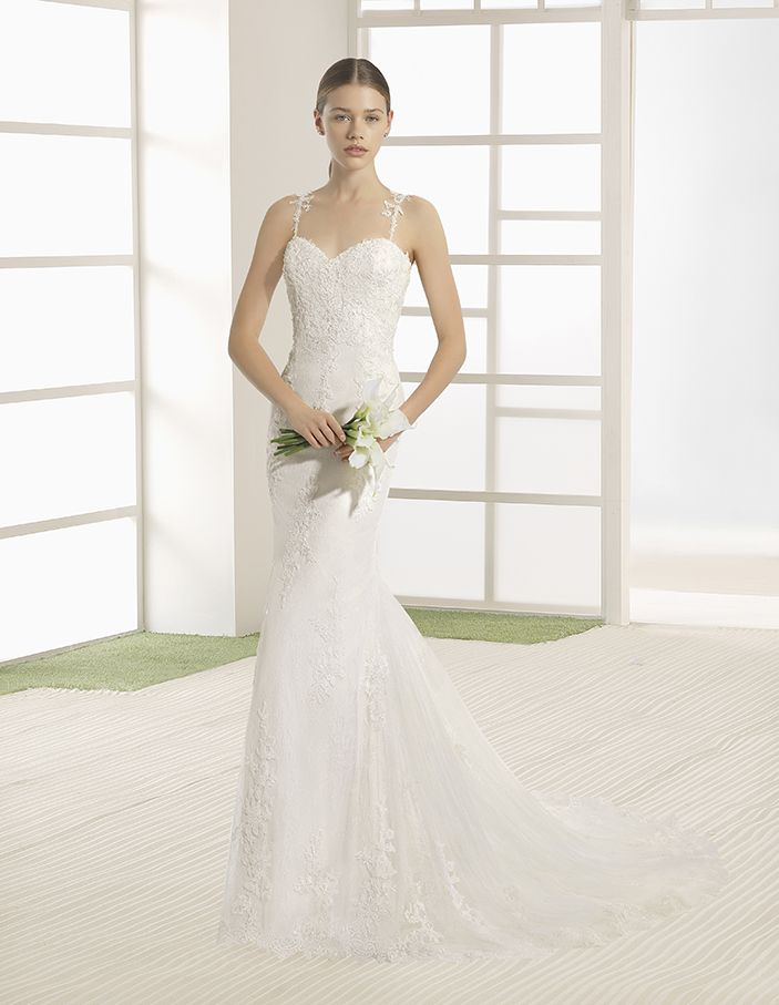 Vicky - Beaded lace column dress with sweetheart neckline and low back, in natural.
