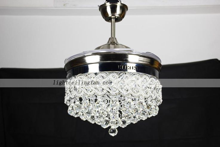 42inch Retractable Crystal Chandelier LED Ceiling Fans With Remote