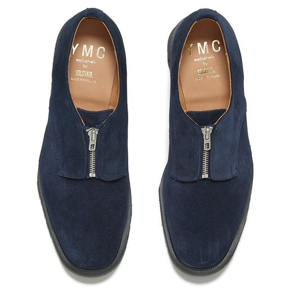 The Gentleman // YMC Men's Solovair Zip Top Suede Derby Shoes - Navy