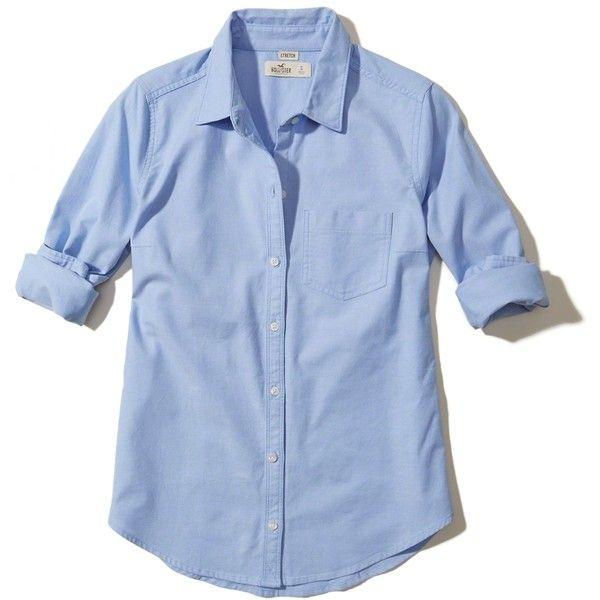Hollister Button-Front Oxford Shirt ($20) ❤ liked on Polyvore featuring tops, light blue, blue oxford shirt, button front top, light blue oxford shirt, pocket tops and oxford shirt