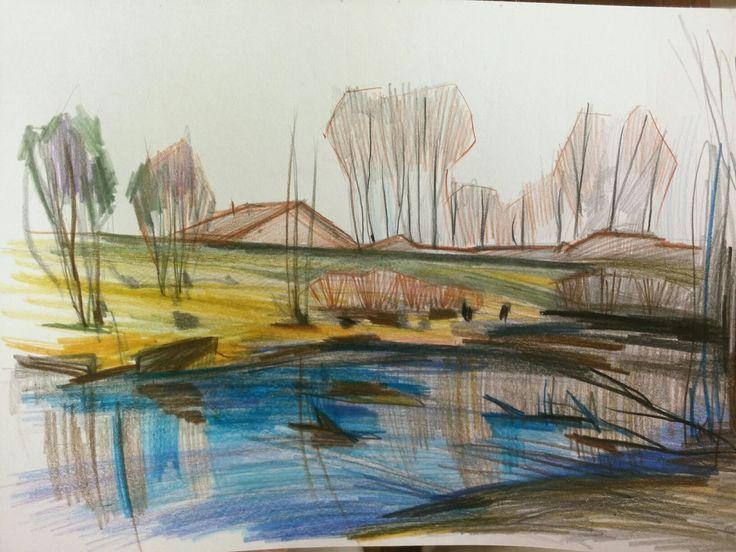 "Sveta Petleva.  ""Lake"". Colored pencils. 2017"