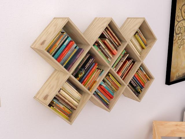 Librero de madera (wood shelf)  http://maderistica.blogspot.com/