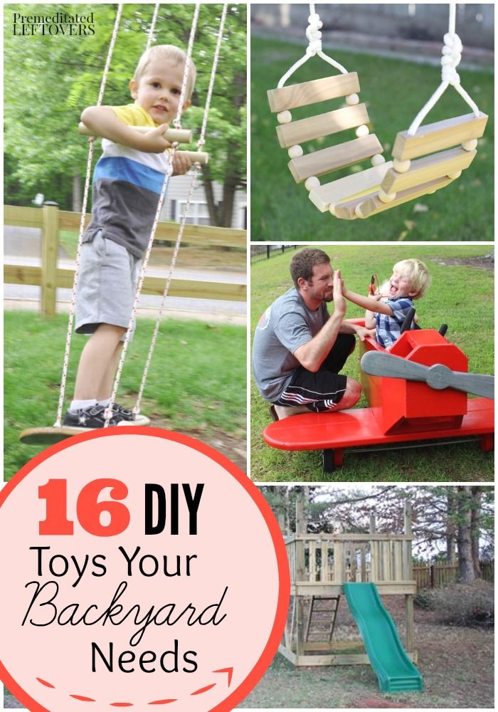 DIY Backyard Play Sets and Toys- Be the envy of every child on your block with these homemade swing sets and toys. Many of these are quite easy to build!