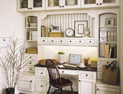 Home Office White Cabinets with Chocolate Glaze