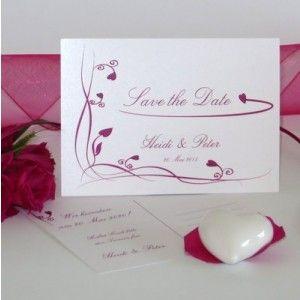 Save-the-Date-Karte in pink. #hochzeitstermin #hochzeitseinladung #invitationcard