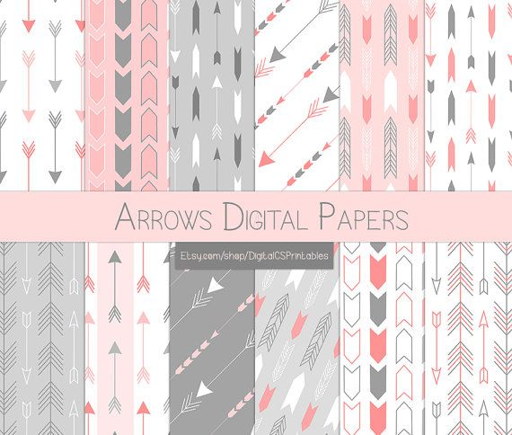 Arrow digital paper arrow Tribal digital paper pink scrapbook paper 12x12 digital paper commercial use Pink and grey pink and gray by DigitalCSPrintables on Etsy