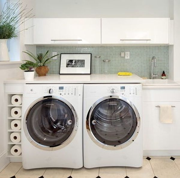 Flip open cabinets, tiled backdrop. Add wire baskets on top for toilet paper, paper towel storage.