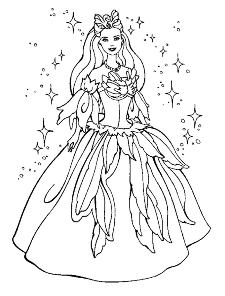 Barbie Coloring Pages Princess For Kids
