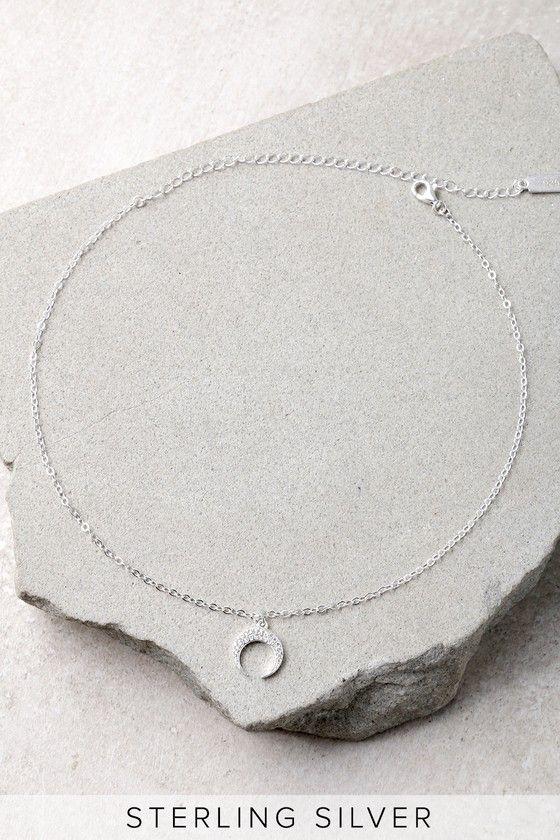 Moon Landing Sterling Silver Rhinestone Moon Choker Necklace 2