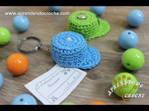 Lembrancinha Chá de Bebê - Mini Boné em Crochê - Receita de Croche Passo a Passo