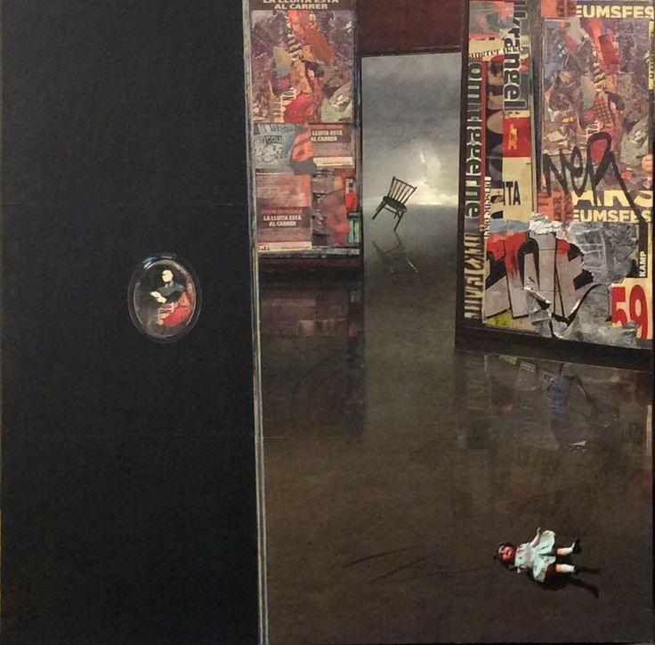 The doll Collage 90x90cm Artist: Inger Karthum