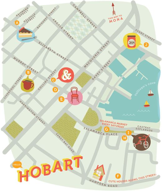 AMAZING HOBART MAP by multi-talented Tess McCabe! I cannot STRESS my extreme enthusiasm for this, The Design Files first ever commissioned illustration! Tess also made the sweet Tassie button in the left column. LOVE YOUR WORK Tess!