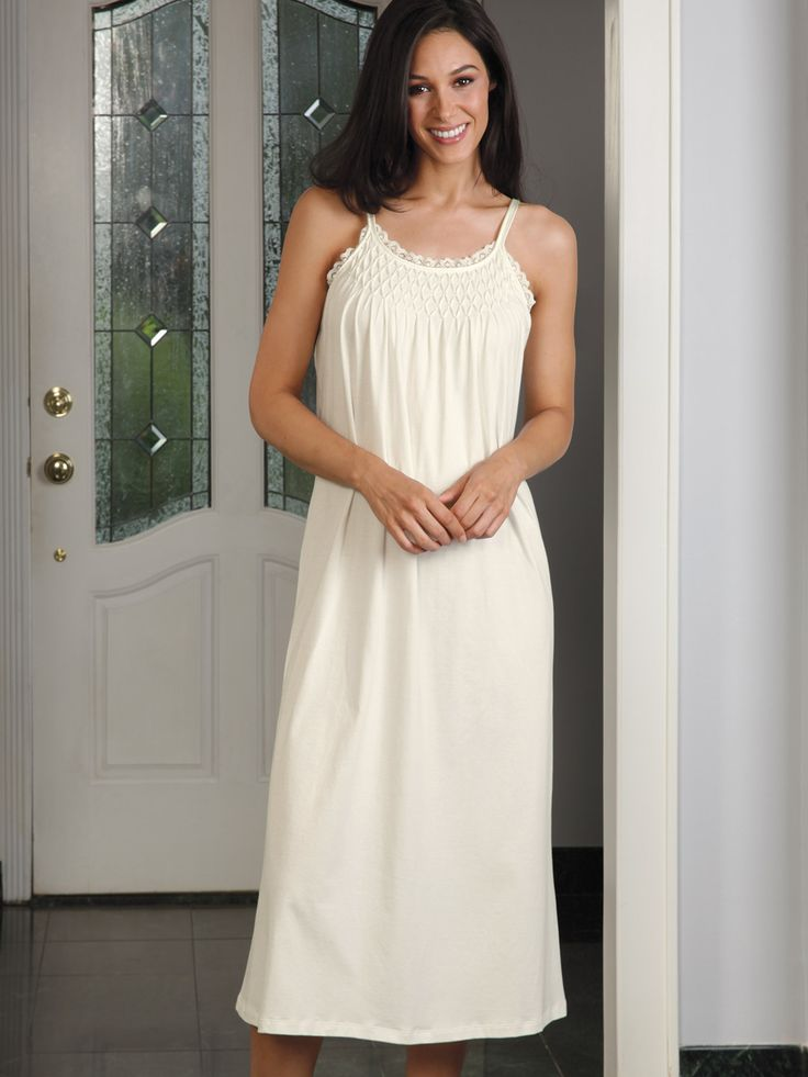 Abigail - Luxury Nightwear - Schweitzer Linen Abigail - #Luxury #Nightwear - Schweitzer Linen This is #elegance defined. Hand-smocked with exquisite skill, the details are breathtaking from the tiny pearl droplets to the gorgeous hem at the bottom. Drape falls silky over skin creating a flowing vision of beauty that will woo hearts to your will, while 100% Pima cotton pampers you with the soft bliss you deserve. Made in Peru, in Ivory, to please and delight you.