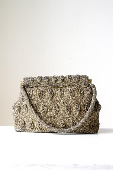 Round She Goes - Market Place - Vintage Gold Beaded Evening Bag