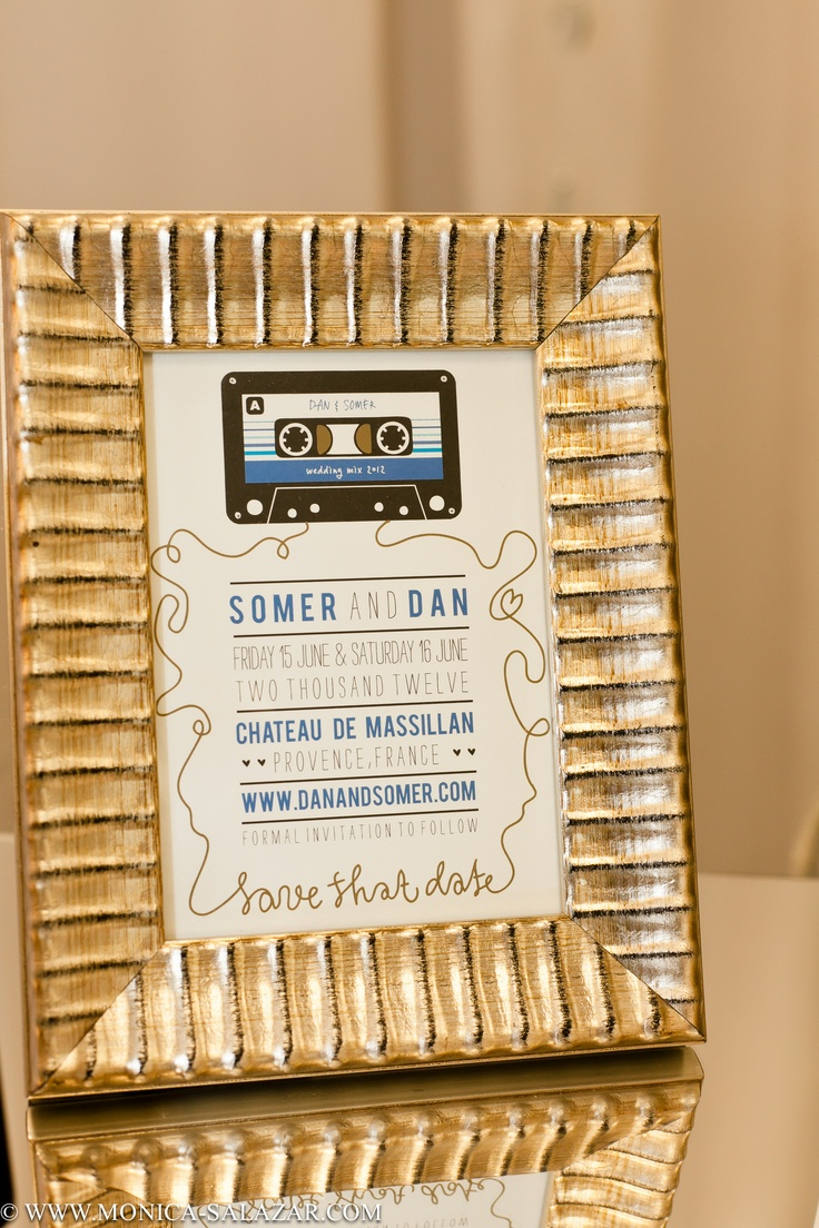 Music inspired Save the Date by Chips and Salsa, Dallas, TX