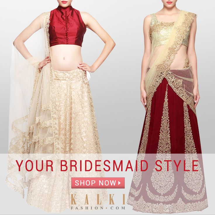 YOUR BRIDESMAID STYLE THIS WEDDING SEASON!  Be the stylish friend that you are and opt for our chic and contemporary bridesmaid lehengas! Play up with the fabric and silhouettes and make all heads turn!  Shop: http://tiny.cc/3lqhsx