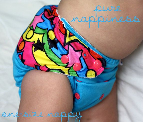 One-size-fits-most cloth nappy- Peace Stars. $18.00, via Etsy.