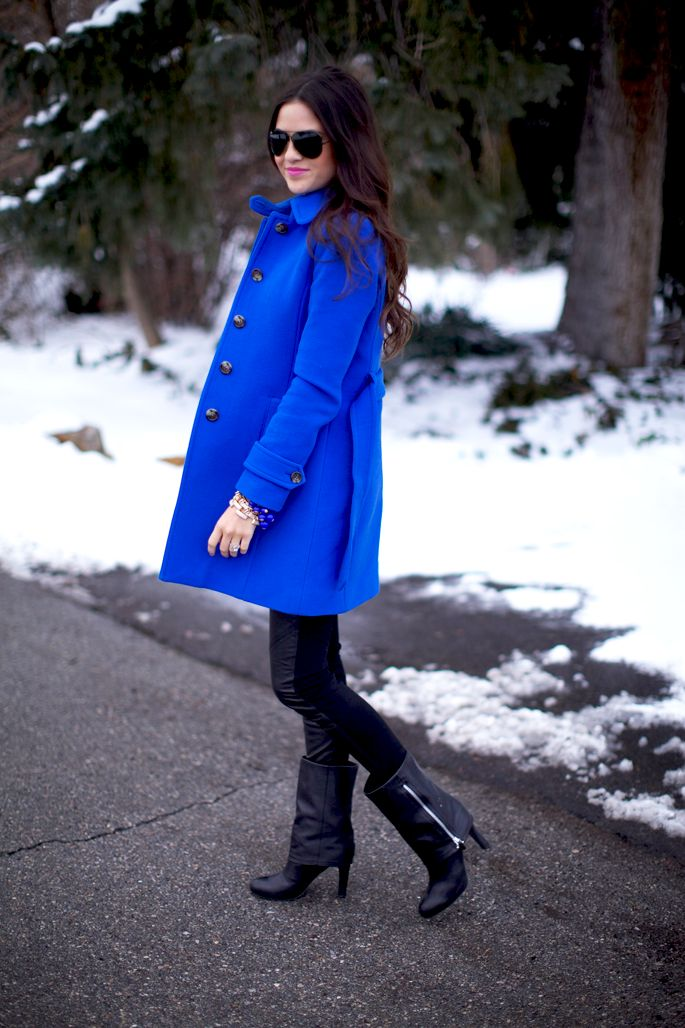 Classic but Bright. Coat: J.Crew | Sweatshirt: Ily Couture | Bottoms: Paige Black Label | ~ Blue is beautiful!