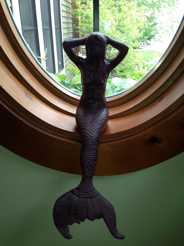 Siren theme. Front bathroom. Colors: seafoam, coral, white, black.