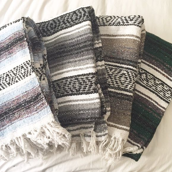 Mexican southwest throw blanket Mexican southwest throw blanket. Authentic Mexican hand woven blanket! Made in Mexico. 100% acrylic. Tons are black, white, forest green, and dark maroon. Size is 4ft X 6ft. Mexican southwest home decor. Tagged as Urban only for exposure and style type. Urban Outfitters Other