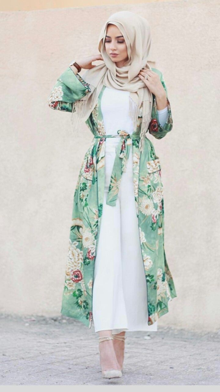 White jumpsuit and floral kimono - check out: Esma <3